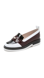 Carven Leather Flats White Bordeaux Black