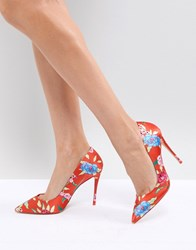 46108d78007 Aldo Heeled Court Shoe In Red Floral Print Orange Multi