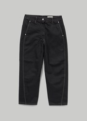 Christophe Lemaire 'S Twisted Denim Pant In Black In Black White Stitching Size 40 Black White Stitching