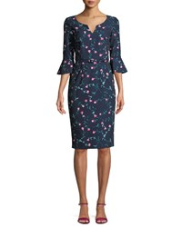 David Meister Mini Floral Trumpet Sleeve Belted Dress Blue Pink