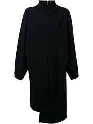Nehera Zip Up Oversize Jersey Dress Black