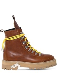 Off White 40Mm Hiking Leather Boots Tan