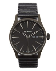 Nixon Bronze Sentry Watch With Leather Bracelet And Black Face