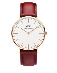 Daniel Wellington Classic Durham Rose Gold And Leather Strap Watch Brown