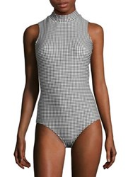 Cover Checkered One Piece Swimsuit Black Gingham
