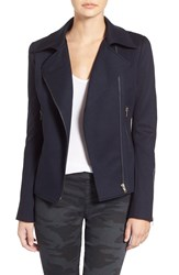 James Jeans Mixed Media Moto Jacket Blue Black Ponte