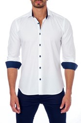 Unsimply Stitched Long Sleeve Contrast Trim Semi Fitted Woven Shirt White