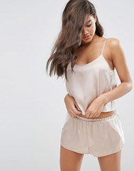 Asos Chiffon Side Satin Cami And Short Set Oyster Beige