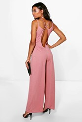 Boohoo Plunge Open Back Wide Leg Jumpsuit Blush