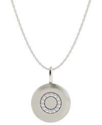 Macy's 14K White Gold Necklace Diamond Accent Letter O Disk Pendant
