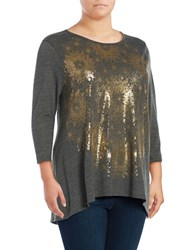 Lucky Brand Plus Star Print Jersey Crewneck Sharkbite Long Sleeve T Shirt Gold Black