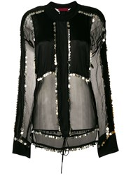 Di Liborio Embellished Sheer Panel Blouse Black