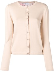 Red Valentino Pleated Knitted Cardigan Neutrals