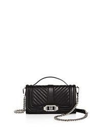 Rebecca Minkoff Love Top Handle Leather Phone Crossbody Black Silver