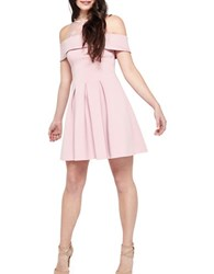 Miss Selfridge Scuba Cold Shoulder Dress Pink