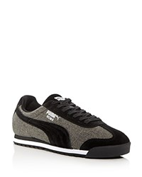Puma Roma Denim Lace Up Sneakers Black Gray