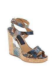Salvatore Ferragamo Snake Embossed Leather And Cork Wedge Sandals Oxford Blue