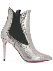 Pinko Pointed Ankle Boots Silver