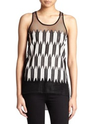 Sachin Babi Flock Chiffon Tank Top Black White