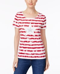 Karen Scott Cotton Striped Star Graphic T Shirt Only At Macy's New Red Amore