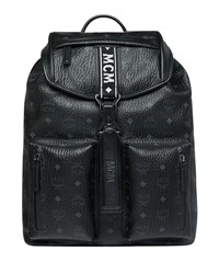 Mcm Raymonde Two Pocket Faux Leather Backpack Black