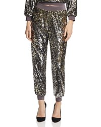Alice Olivia Pete Sequined Jogger Pants Antique Silver