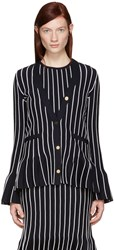 Thom Browne Navy V Neck Pleated Jacket