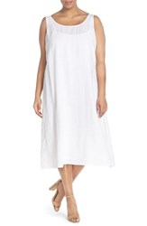 Plus Size Women's Eileen Fisher Handkerchief Linen Calf Length Tank Dress