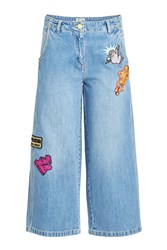 Kenzo Cropped Wide Leg Jeans With Badges