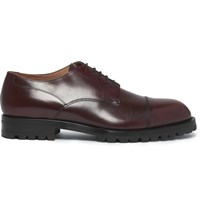 Dries Van Noten Cap Toe Leather Derby Shoes Burgundy