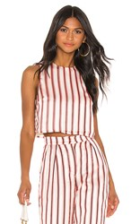 House Of Harlow 1960 X Revolve Paula Crop In Red. Red Pop Stripe