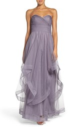 Watters Women's 'Florian' Strapless Horsehair Ruffle Tulle A Line Gown Heather