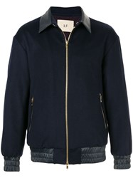 Loveless Leather Trim Bomber Jacket Blue
