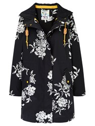 Joules Right As Rain Raina Waterproof Parka Black Floral