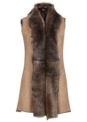 Dom Goor Mocha Suede And Shearling Gilet Honey