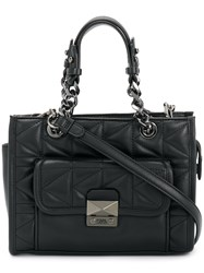 Karl Lagerfeld Quilted Tote Calf Leather Polyvinyl Acetate Pva Black