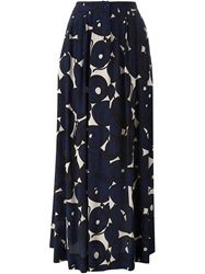 Eggs Floral Print Maxi Skirt Blue