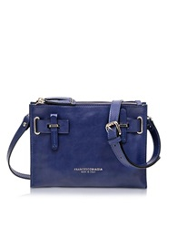 Francesco Biasia Hampstead Abisso Leather Crossbody Bag Blue