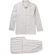 Schiesser Alfred Striped Cotton Pyjama Set White