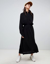 Weekday High Neck Ruched Midi Dress Black