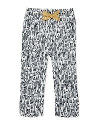 Catimini Woven Flamingo Print Pants Black White