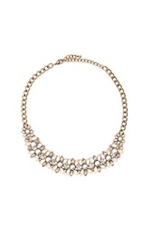 Forever 21 Faux Gem Statement Necklace Light Pink Cream