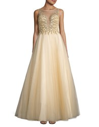 Basix Ii Embellished Illusion Ball Gown Champagne