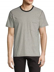 7 For All Mankind Striped Short Sleeve Tee Grey