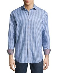Neiman Marcus Printed Woven Button Front Shirt Blue