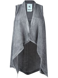 Lost And Found Rooms Asymmetric Hem Waistcoat Grey