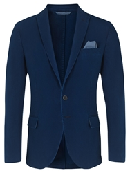 Jigsaw Cotton Pique Slim Fit Blazer Indigo