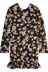 Marni Ruffled Floral Print Cotton And Silk Blend Mini Dress Black Pink