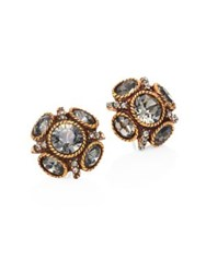 Oscar De La Renta Classic Crystal Button Stud Earrings Gold