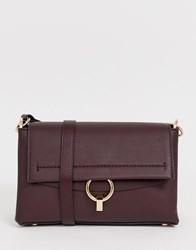 Mango Across Body Bag With Ring Front In Burgundy Red